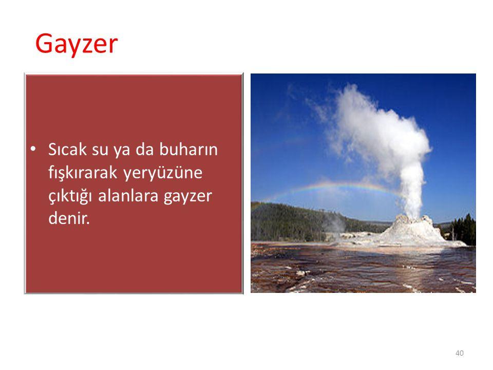 Gayzer Sıcak su ya da buharın fışkırarak yeryüzüne çıktığı alanlara gayzer denir.