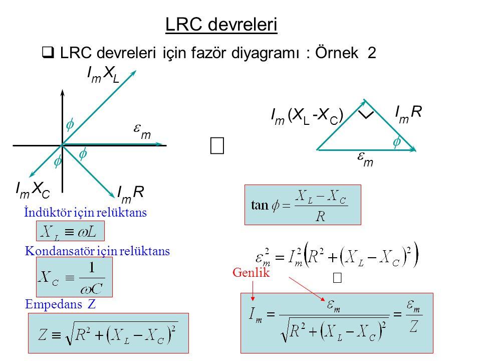 Þ LRC devreleri LRC devreleri için fazör diyagramı : Örnek 2 ß f I R e