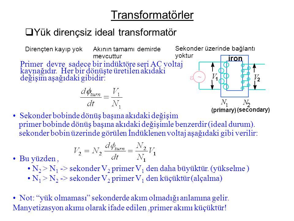 Transformatörler Yük dirençsiz ideal transformatör