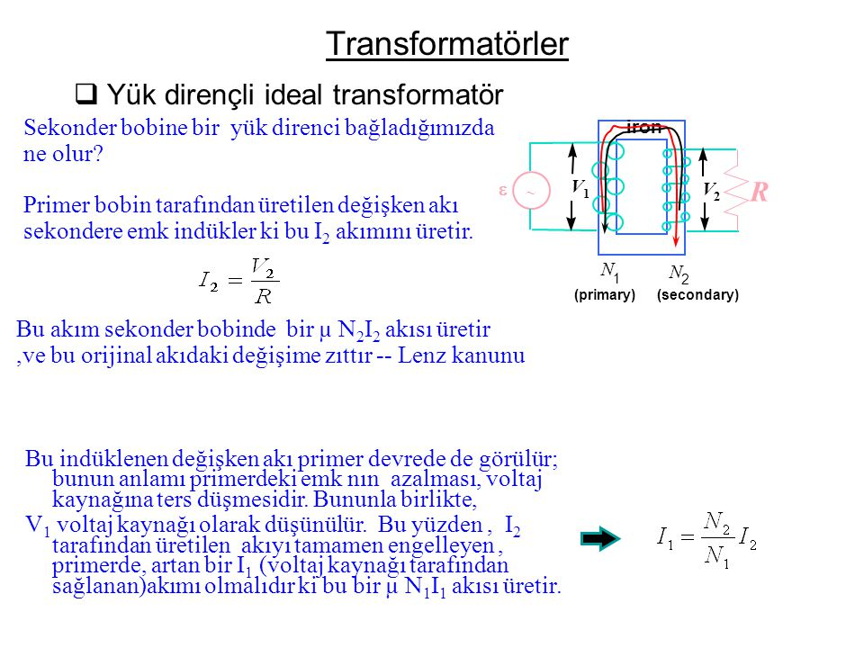 Transformatörler Yük dirençli ideal transformatör R