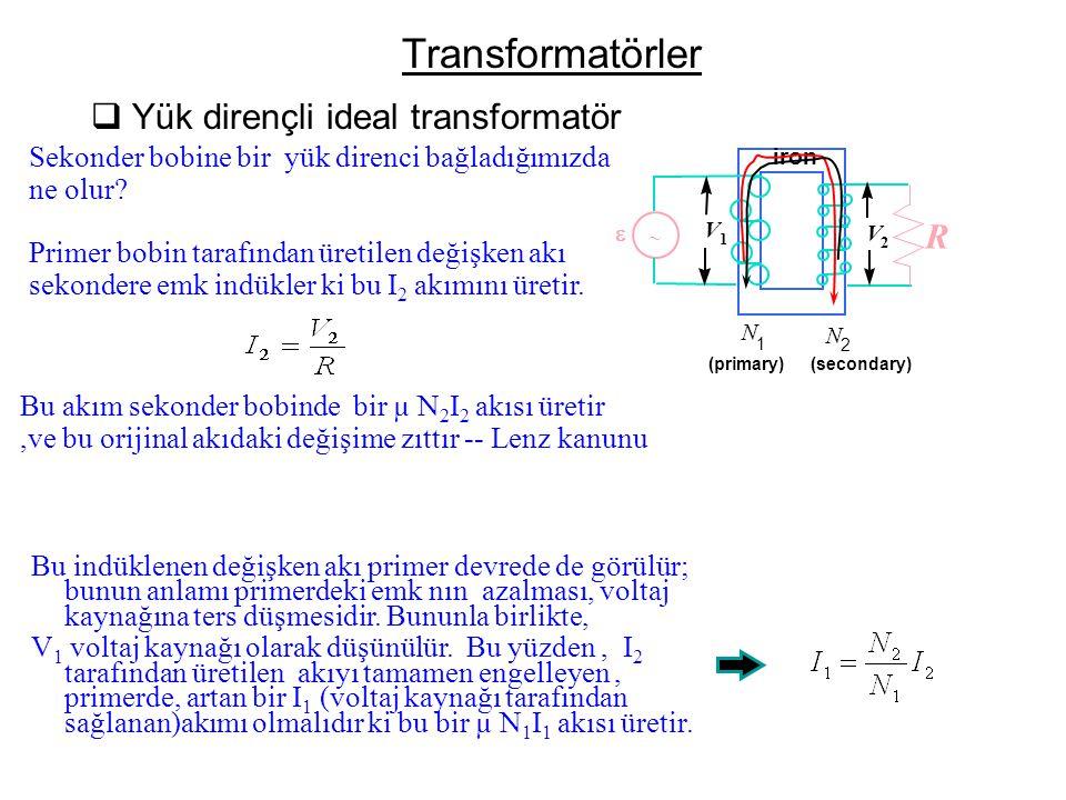 Transformatörler Yük dirençli ideal transformatör R