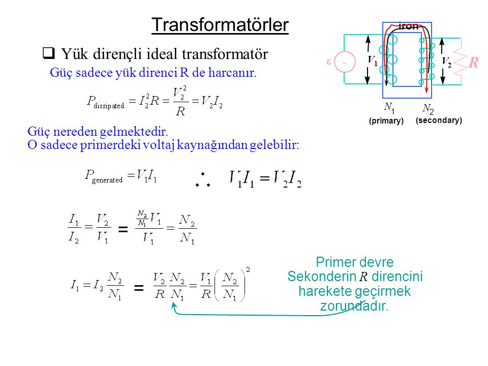Transformatörler = = Yük dirençli ideal transformatör R