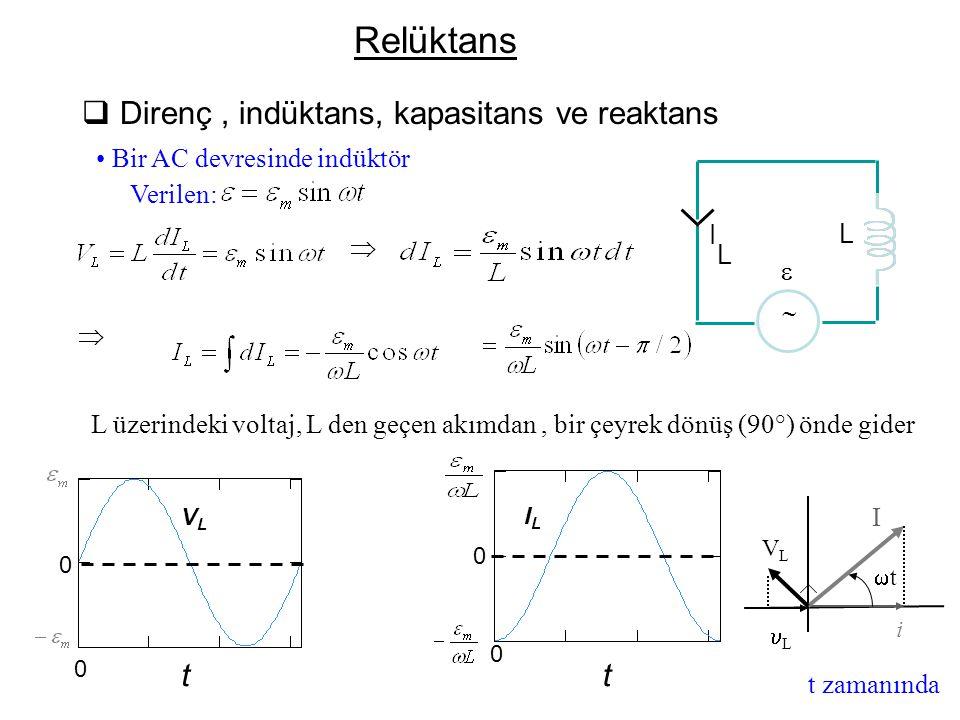 Relüktans Direnç , indüktans, kapasitans ve reaktans t
