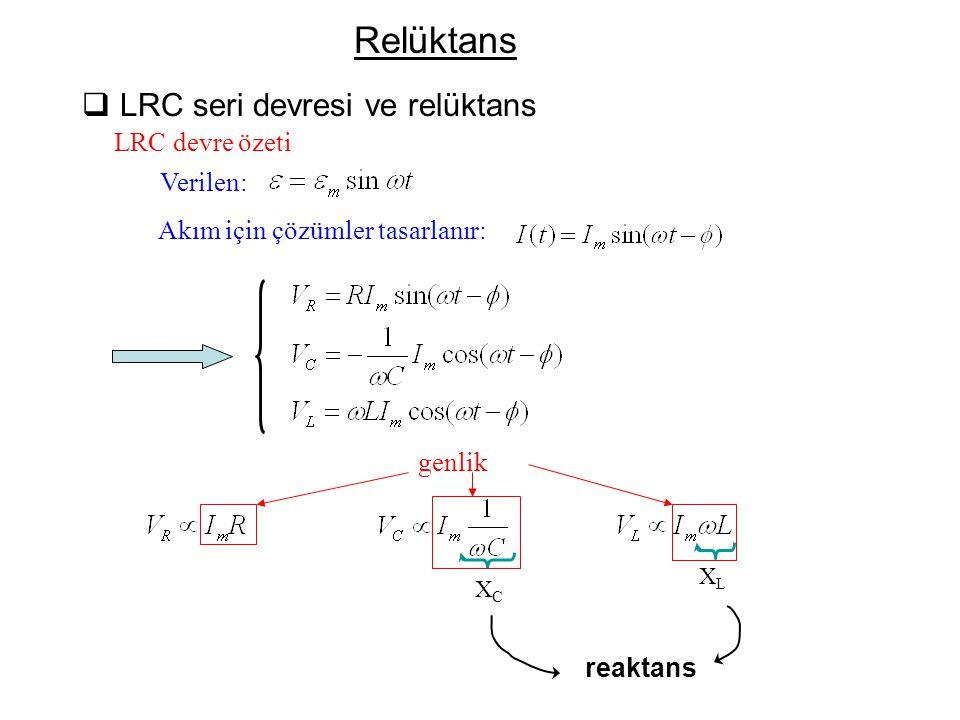 Relüktans LRC seri devresi ve relüktans LRC devre özeti Verilen: