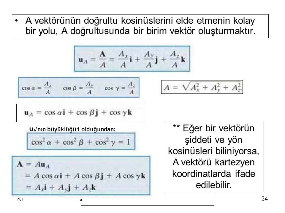 A vektörünün doğrultu kosinüslerini elde etmenin kolay bir yolu, A doğrultusunda bir birim vektör oluşturmaktır.