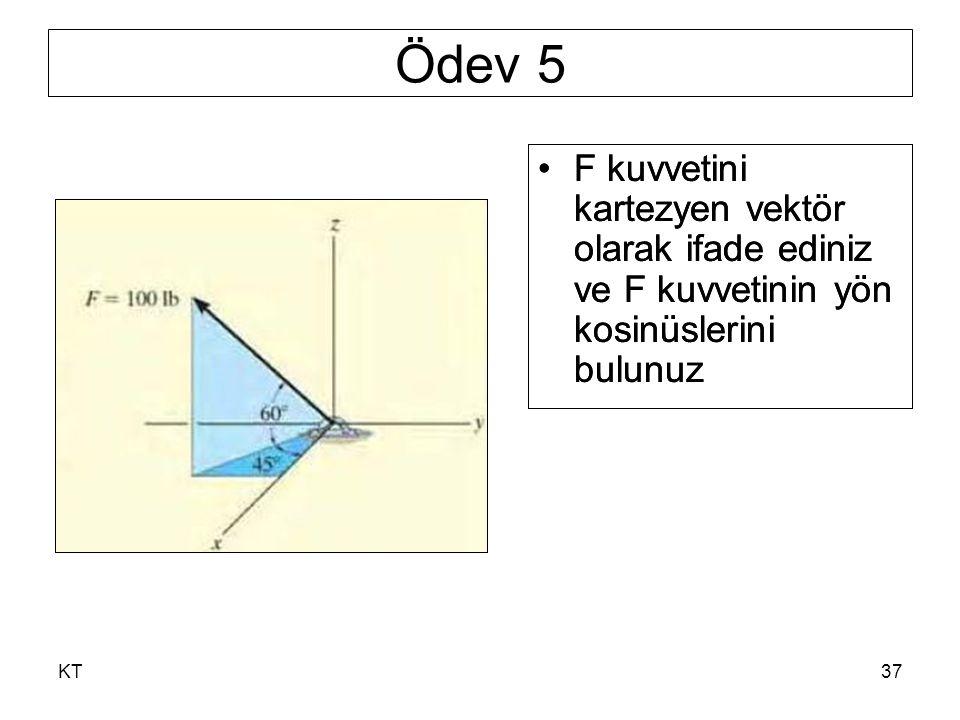 Ödev 5 F kuvvetini kartezyen vektör olarak ifade ediniz ve F kuvvetinin yön kosinüslerini bulunuz.