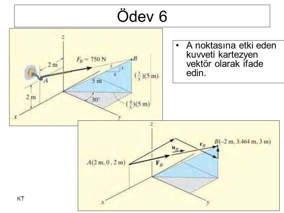 Ödev 6 A noktasına etki eden kuvveti kartezyen vektör olarak ifade edin. KT