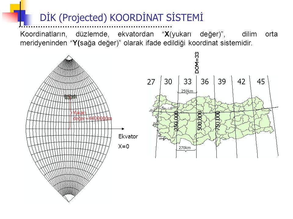 DİK (Projected) KOORDİNAT SİSTEMİ