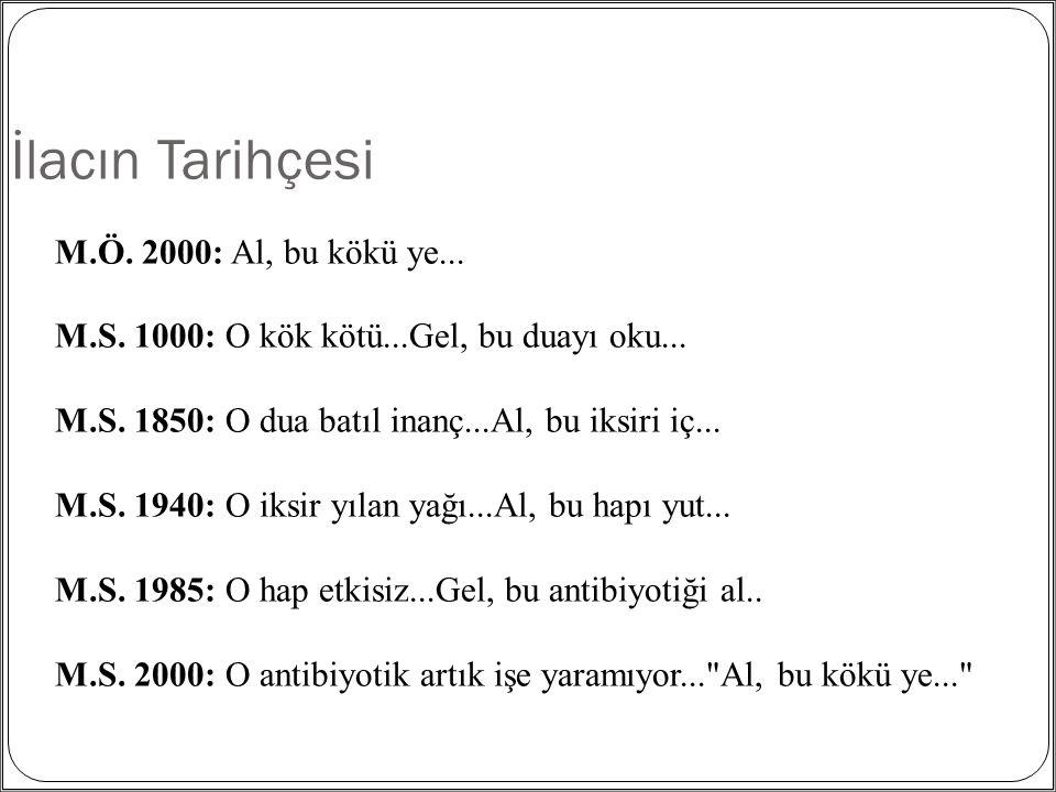 İlacın Tarihçesi M.Ö. 2000: Al, bu kökü ye...