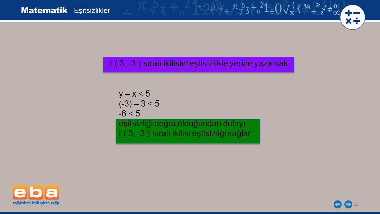 L( 3, -3 ) sıralı ikilisini eşitsizlikte yerine yazarsak;