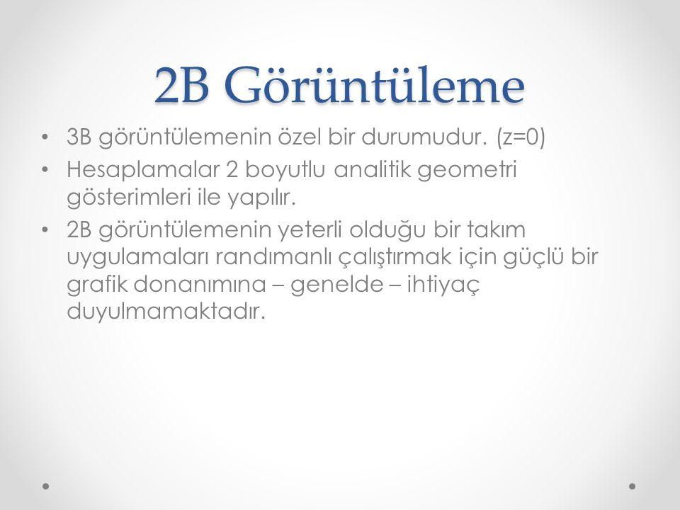 2B Görüntüleme 3B görüntülemenin özel bir durumudur. (z=0)