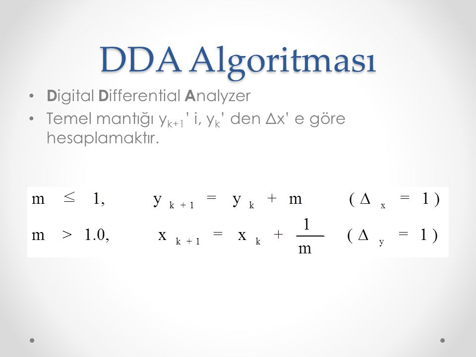 DDA Algoritması Digital Differential Analyzer