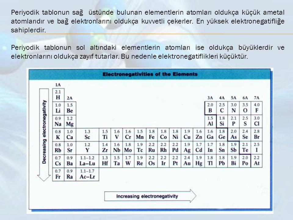 Periyodik tablonun sağ üstünde bulunan elementlerin atomları oldukça küçük ametal atomlarıdır ve bağ elektronlarını oldukça kuvvetli çekerler. En yüksek elektronegatifliğe sahiplerdir.