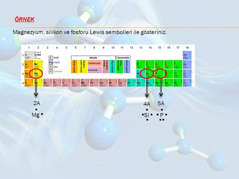 ÖRNEK Magnezyum, silikon ve fosforu Lewis sembolleri ile gösteriniz. Mg . . Si . P 2A 4A 5A