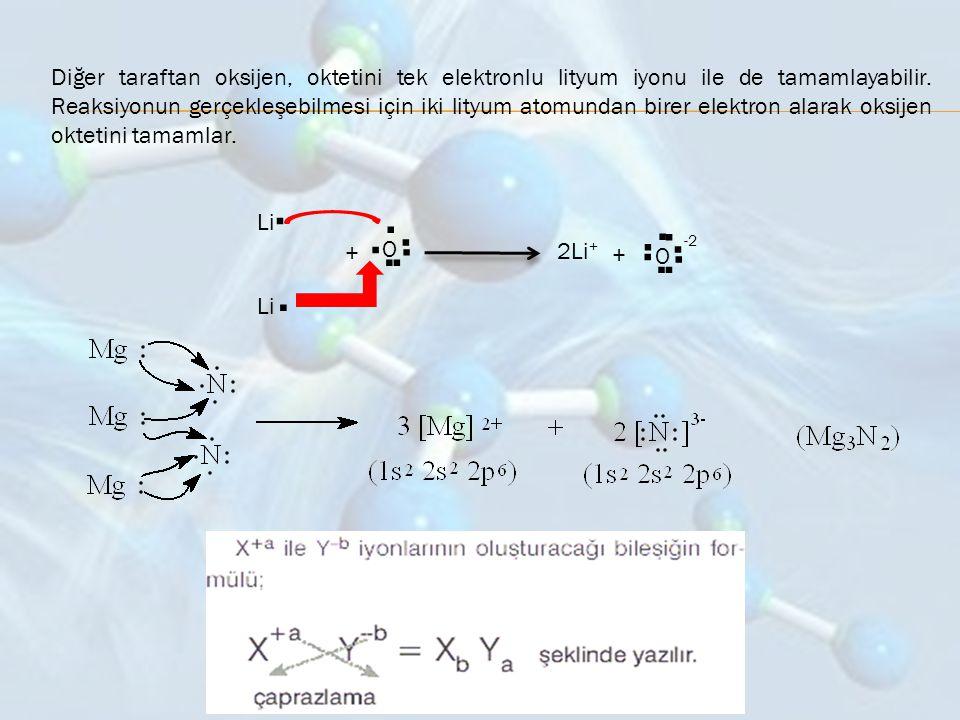 Diğer taraftan oksijen, oktetini tek elektronlu lityum iyonu ile de tamamlayabilir. Reaksiyonun gerçekleşebilmesi için iki lityum atomundan birer elektron alarak oksijen oktetini tamamlar.