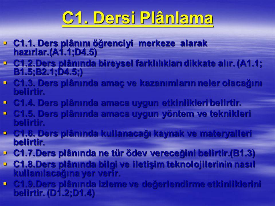 C1. Dersi Plânlama C1.1. Ders plânını öğrenciyi merkeze alarak hazırlar.(A1.1;D4.5)