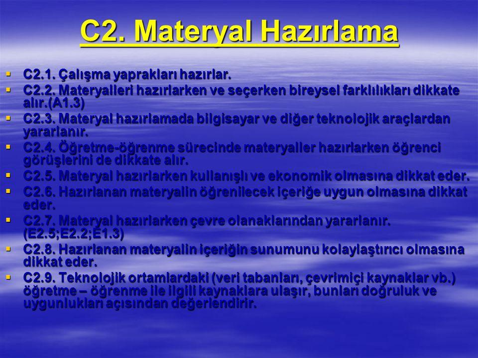 C2. Materyal Hazırlama C2.1. Çalışma yaprakları hazırlar.