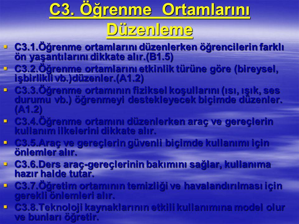 C3. Öğrenme Ortamlarını Düzenleme