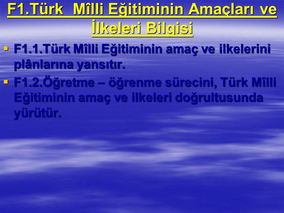 F1.Türk Mîlli Eğitiminin Amaçları ve İlkeleri Bilgisi