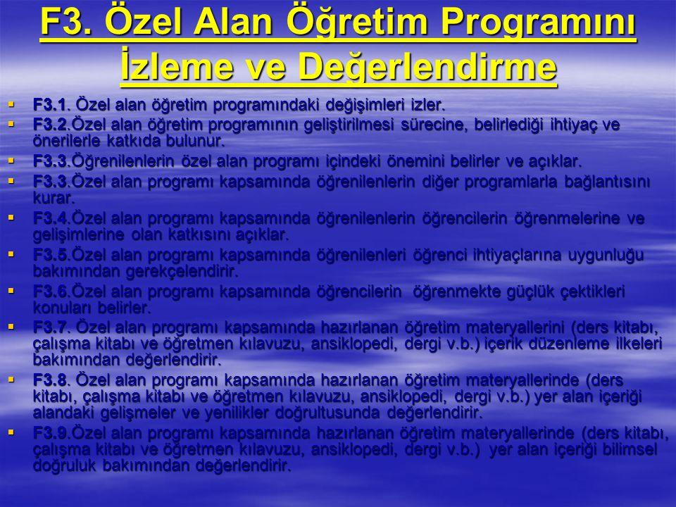 F3. Özel Alan Öğretim Programını İzleme ve Değerlendirme