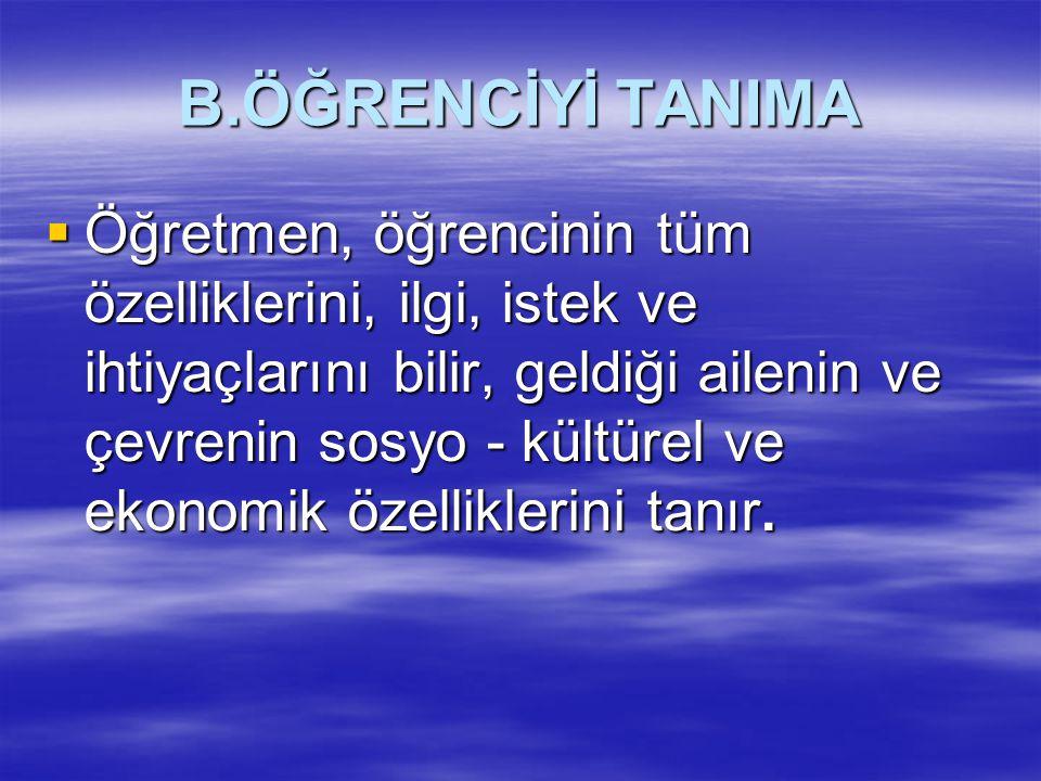 B.ÖĞRENCİYİ TANIMA