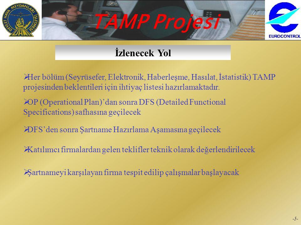 İzlenecek Yol Her bölüm (Seyrüsefer, Elektronik, Haberleşme, Hasılat, İstatistik) TAMP projesinden beklentileri için ihtiyaç listesi hazırlamaktadır.