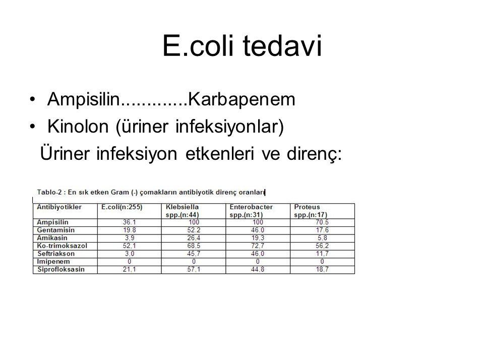 E.coli tedavi Ampisilin.............Karbapenem