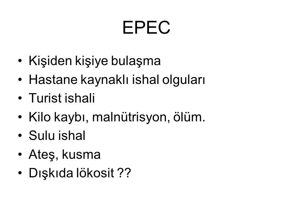 EPEC Kişiden kişiye bulaşma Hastane kaynaklı ishal olguları