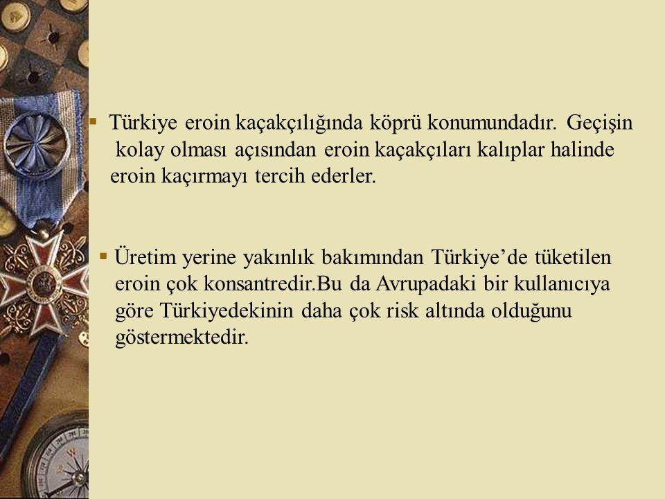 Türkiye eroin kaçakçılığında köprü konumundadır. Geçişin