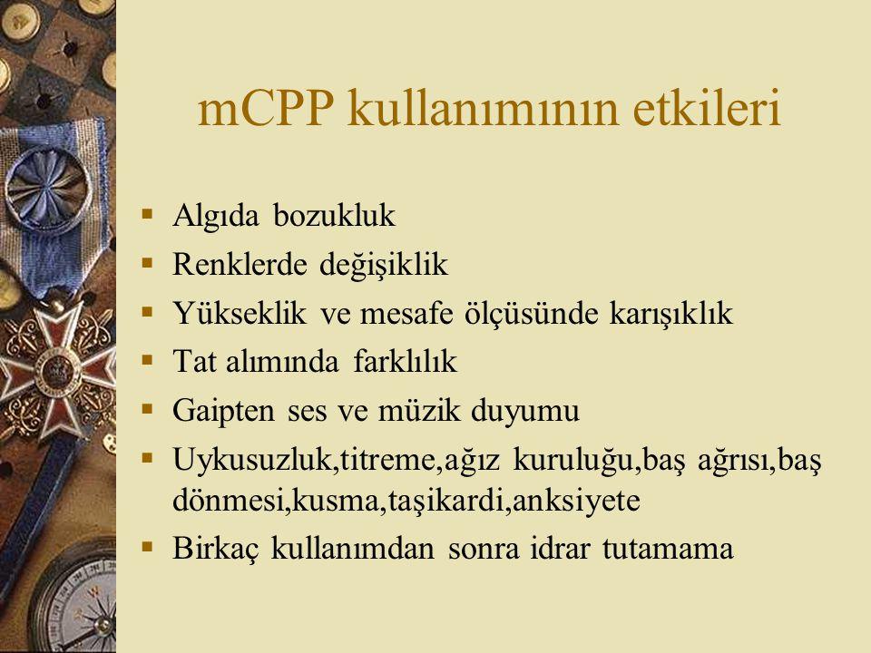 mCPP kullanımının etkileri