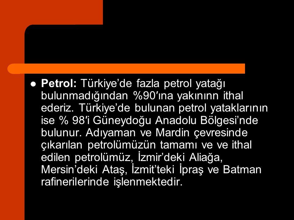 Petrol: Türkiye'de fazla petrol yatağı bulunmadığından %90′ına yakınınn ithal ederiz.