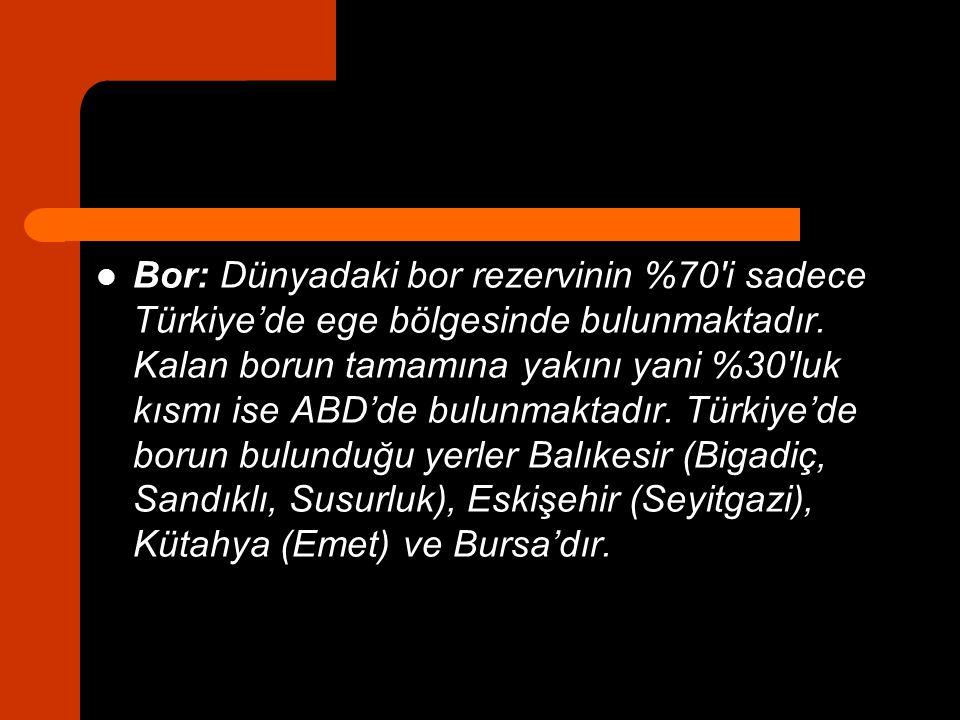 Bor: Dünyadaki bor rezervinin %70′i sadece Türkiye'de ege bölgesinde bulunmaktadır.