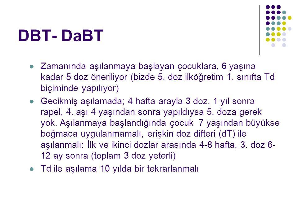 DBT- DaBT Zamanında aşılanmaya başlayan çocuklara, 6 yaşına kadar 5 doz öneriliyor (bizde 5. doz ilköğretim 1. sınıfta Td biçiminde yapılıyor)