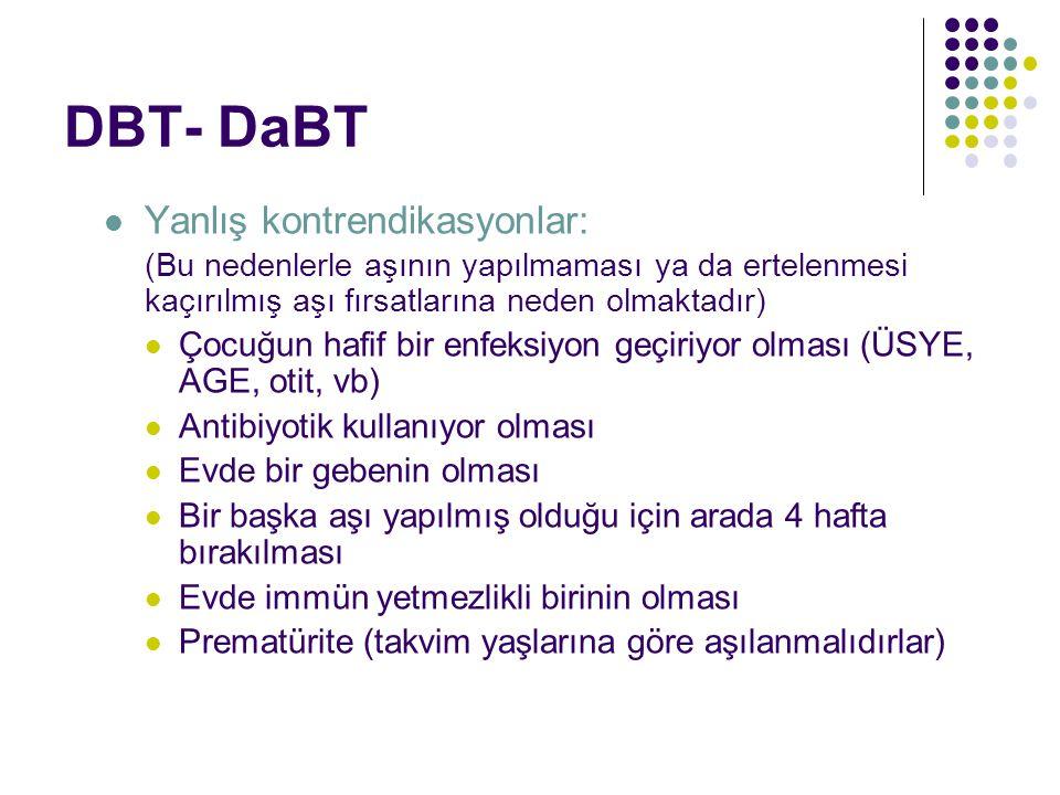 DBT- DaBT Yanlış kontrendikasyonlar: