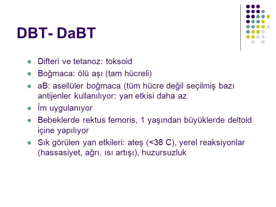 DBT- DaBT Difteri ve tetanoz: toksoid Boğmaca: ölü aşı (tam hücreli)