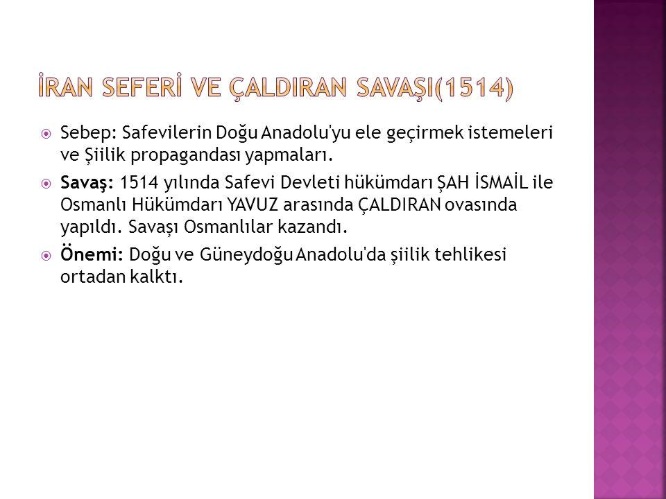 İRAN SEFERİ VE ÇALDIRAN SAVAŞI(1514)