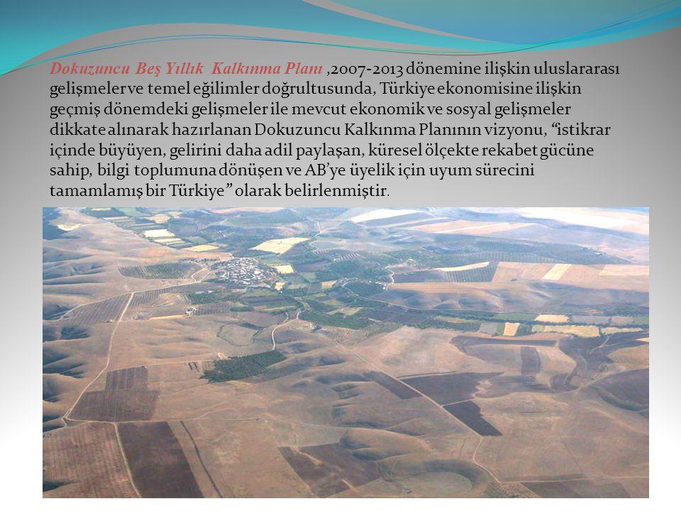 Dokuzuncu Beş Yıllık Kalkınma Planı ,2007-2013 dönemine ilişkin uluslararası gelişmeler ve temel eğilimler doğrultusunda, Türkiye ekonomisine ilişkin geçmiş dönemdeki gelişmeler ile mevcut ekonomik ve sosyal gelişmeler dikkate alınarak hazırlanan Dokuzuncu Kalkınma Planının vizyonu, istikrar içinde büyüyen, gelirini daha adil paylaşan, küresel ölçekte rekabet gücüne sahip, bilgi toplumuna dönüşen ve AB'ye üyelik için uyum sürecini tamamlamış bir Türkiye olarak belirlenmiştir.