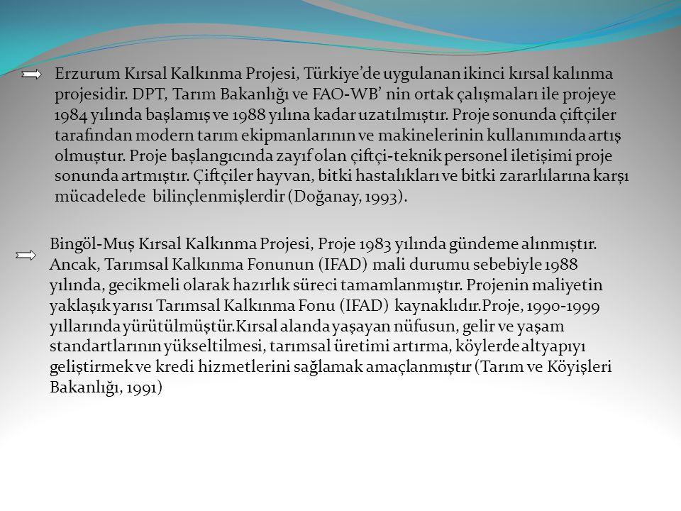 Erzurum Kırsal Kalkınma Projesi, Türkiye'de uygulanan ikinci kırsal kalınma projesidir. DPT, Tarım Bakanlığı ve FAO-WB' nin ortak çalışmaları ile projeye 1984 yılında başlamış ve 1988 yılına kadar uzatılmıştır. Proje sonunda çiftçiler tarafından modern tarım ekipmanlarının ve makinelerinin kullanımında artış olmuştur. Proje başlangıcında zayıf olan çiftçi-teknik personel iletişimi proje sonunda artmıştır. Çiftçiler hayvan, bitki hastalıkları ve bitki zararlılarına karşı mücadelede bilinçlenmişlerdir (Doğanay, 1993).