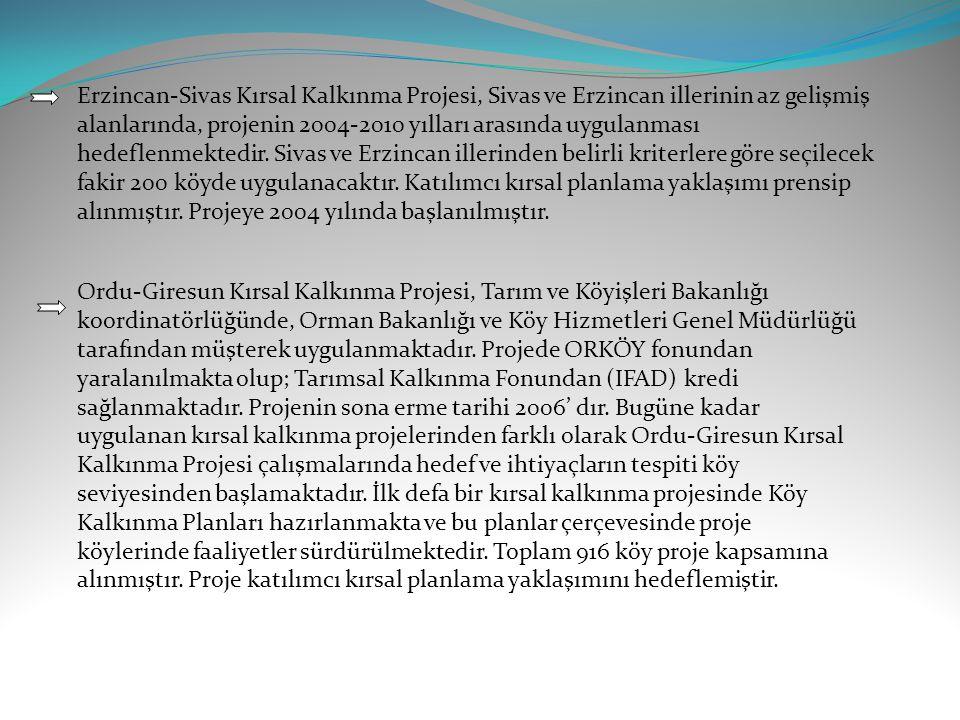 Erzincan-Sivas Kırsal Kalkınma Projesi, Sivas ve Erzincan illerinin az gelişmiş alanlarında, projenin 2004-2010 yılları arasında uygulanması hedeflenmektedir. Sivas ve Erzincan illerinden belirli kriterlere göre seçilecek fakir 200 köyde uygulanacaktır. Katılımcı kırsal planlama yaklaşımı prensip alınmıştır. Projeye 2004 yılında başlanılmıştır.