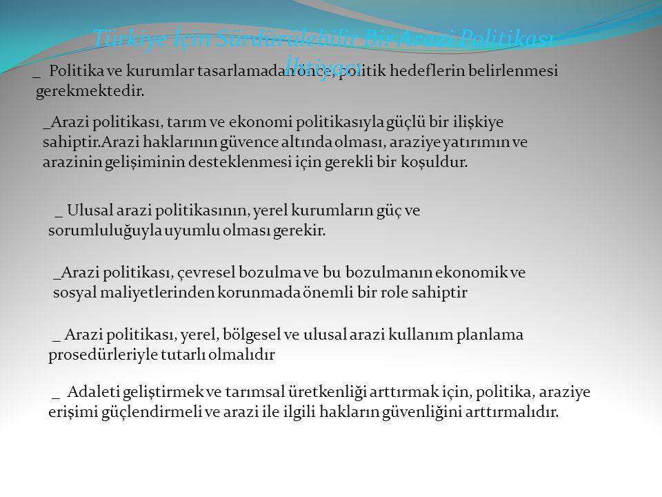 Türkiye İçin Sürdürülebilir Bir Arazi Politikası İhtiyacı
