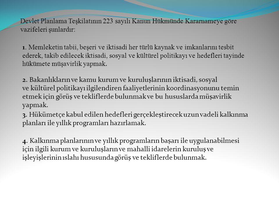 Devlet Planlama Teşkilatının 223 sayılı Kanun Hükmünde Kararnameye göre vazifeleri şunlardır:
