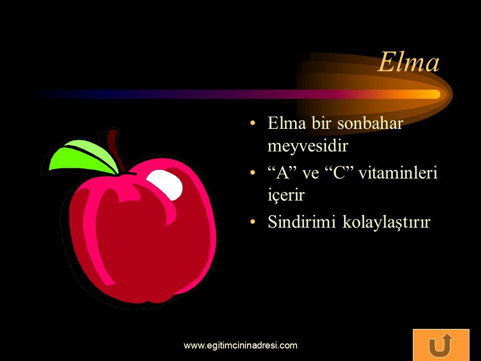 Elma Elma bir sonbahar meyvesidir A ve C vitaminleri içerir