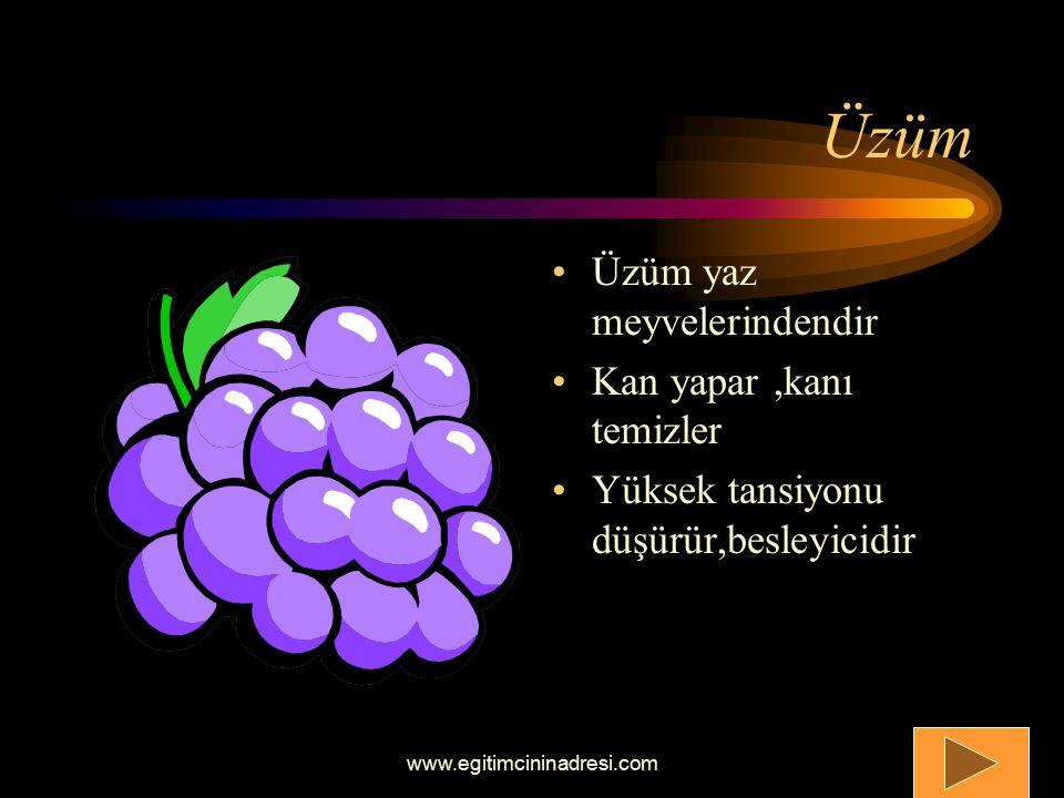 Üzüm Üzüm yaz meyvelerindendir Kan yapar ,kanı temizler