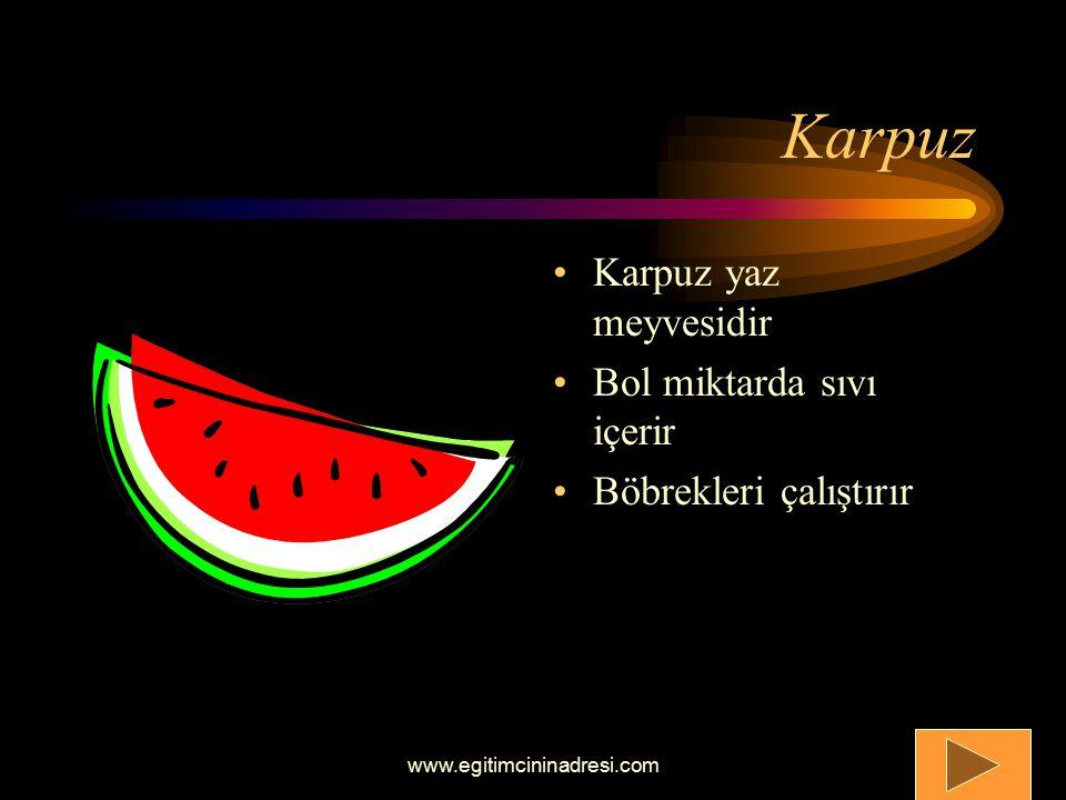 Karpuz Karpuz yaz meyvesidir Bol miktarda sıvı içerir