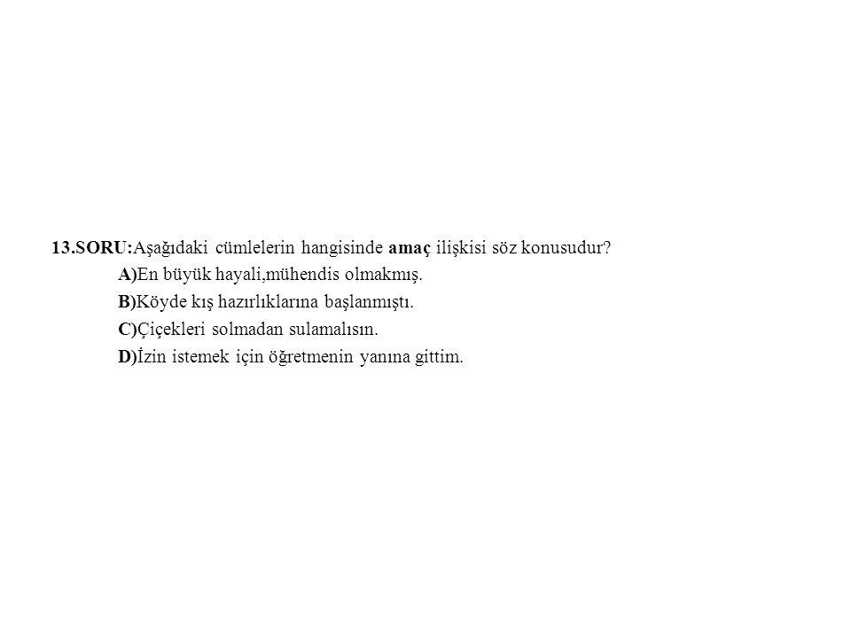 13.SORU:Aşağıdaki cümlelerin hangisinde amaç ilişkisi söz konusudur