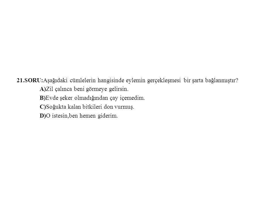 21.SORU:Aşağıdaki cümlelerin hangisinde eylemin gerçekleşmesi bir şarta bağlanmıştır
