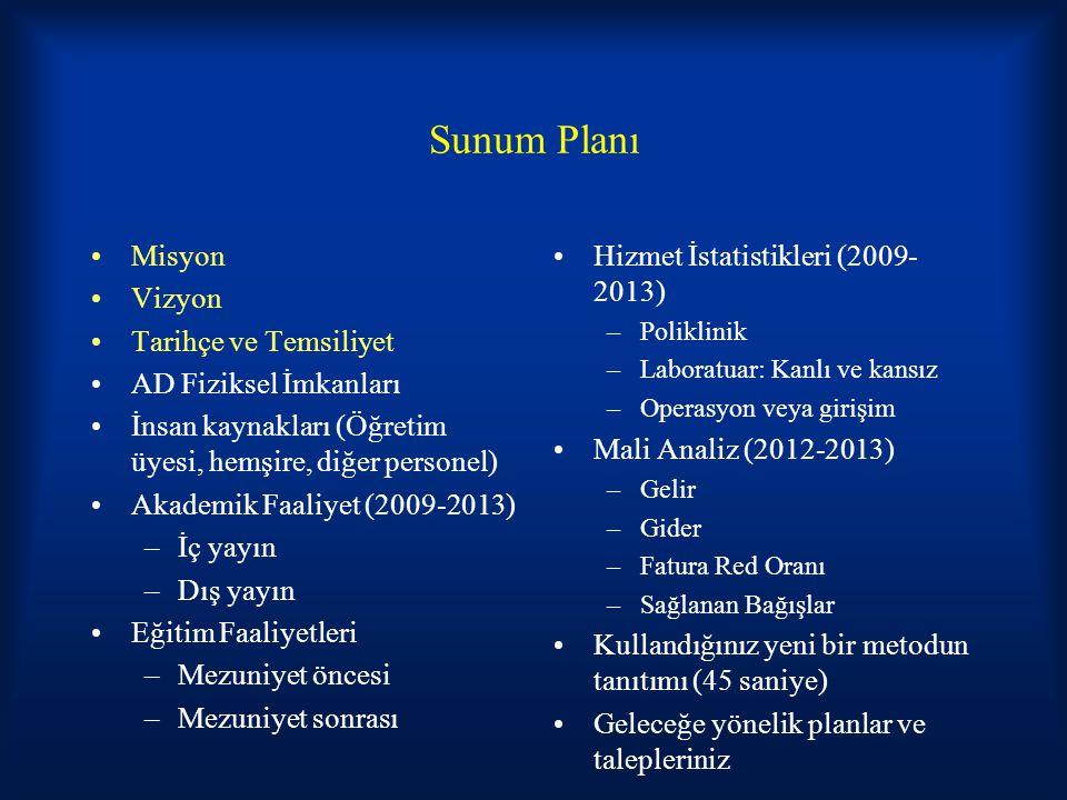 Sunum Planı Misyon Vizyon Tarihçe ve Temsiliyet AD Fiziksel İmkanları