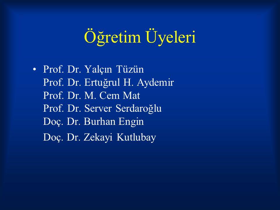 Öğretim Üyeleri Prof. Dr. Yalçın Tüzün Prof. Dr. Ertuğrul H. Aydemir Prof. Dr. M. Cem Mat Prof. Dr. Server Serdaroğlu Doç. Dr. Burhan Engin.