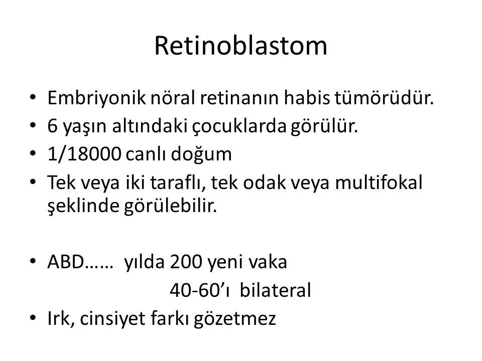 Retinoblastom Embriyonik nöral retinanın habis tümörüdür.