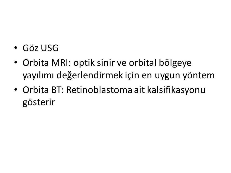 Göz USG Orbita MRI: optik sinir ve orbital bölgeye yayılımı değerlendirmek için en uygun yöntem.